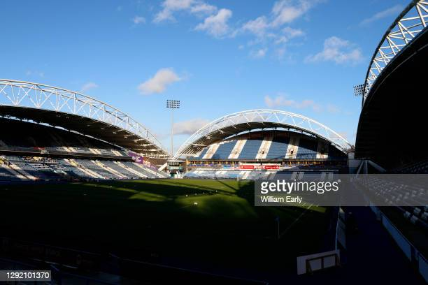 General view of the John Smith's Stadium before the Sky Bet Championship match between Huddersfield Town and Watford at John Smith's Stadium on...