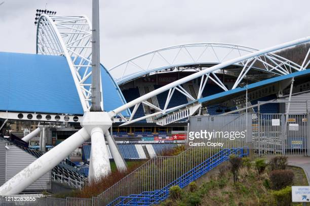 General view of the John Smith's Stadium, home of Huddersfield Town and Huddersfield Giants on March 18, 2020 in Huddersfield, England.