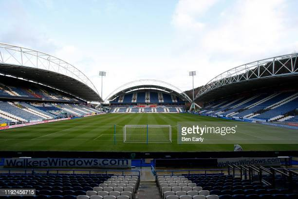 General view of The John Smiths Stadium, home of Huddersfield Town before the Sky Bet Championship match between Huddersfield Town and Leeds United...