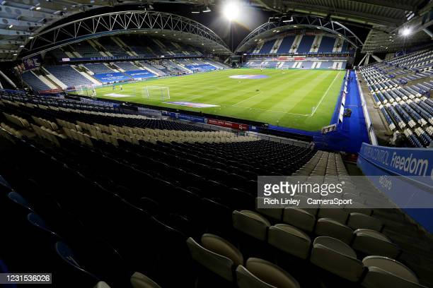 General view of The John Smith's Stadium, home of Huddersfield Town during the Sky Bet Championship match between Huddersfield Town and Cardiff City...
