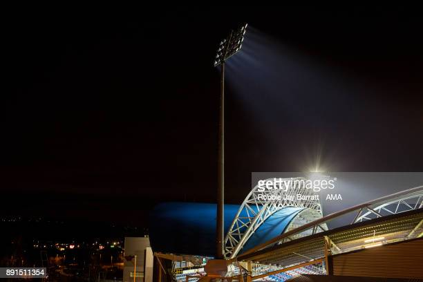 General view of The John Smiths Stadium home stadium of Huddersfield Town at night prior to the Premier League match between Huddersfield Town and...