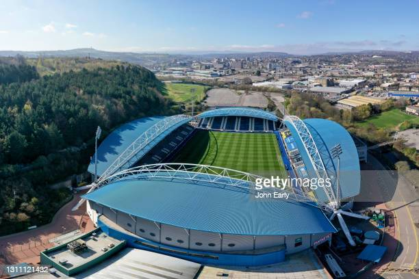 General view of the John Smith's Stadium In Huddersfield with the town in the background at John Smith's Stadium on April 04, 2021 in Huddersfield,...