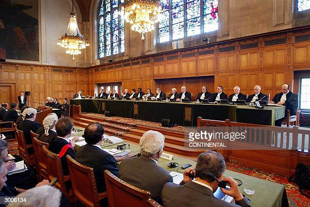General view of the judges at the International Court of Justice in The Hague 23 February 2004. The barrier being built by Israel on the West Bank is...