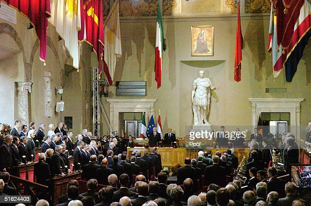 A general view of the Julis Caesar Hall at the Roman Capitole is seen during the ceremony of the signature of the Treaty and Final Act that establish...