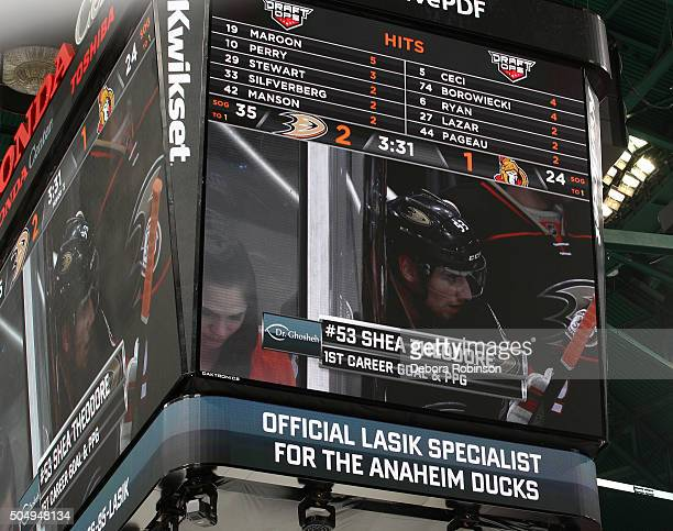A general view of the Jumbotron acknowledging Shea Theodore of the Anaheim Ducks' first NHL goal scored during the game against the Ottawa Senators...