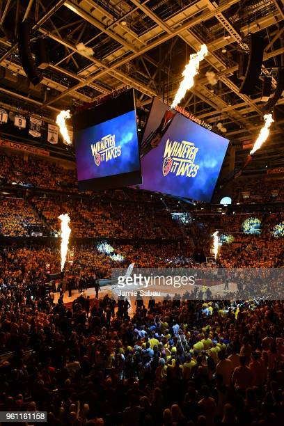A general view of the jumbotron as fire erupts during introductions before Game Four of the 2018 NBA Eastern Conference Finals between the Cleveland...