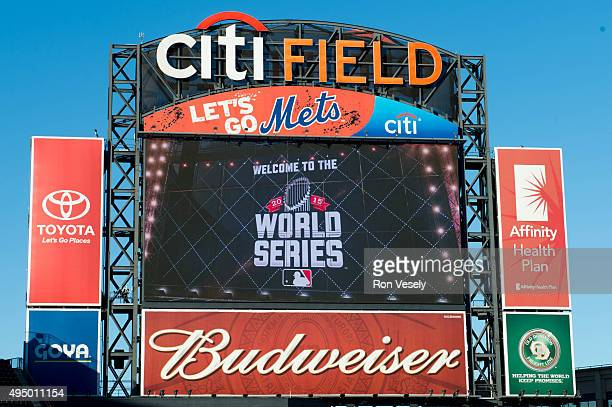 A general view of the jumbotron at Citi Field prior to Game 3 of the 2015 World Series between the New York Mets and the Kansas City Royals on Friday...