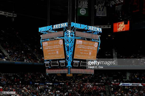 A general view of the jumbotron at Philips Arena during the game between the Cleveland Cavaliers and the Atlanta Hawks on January 21 2012 in Atlanta...