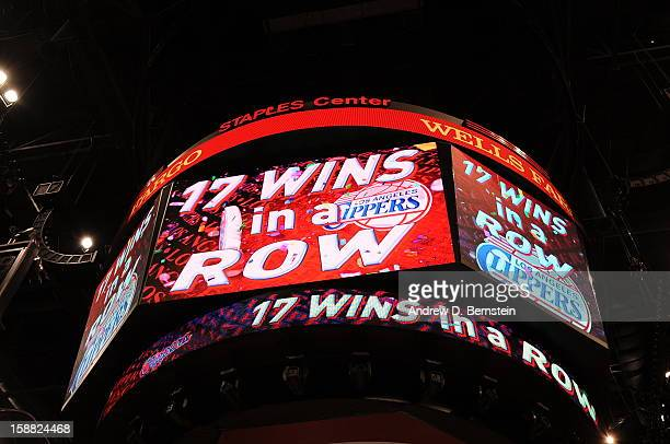 General view of the jumbotron displaying the 17th win in a row mark for Clippers as seen during the game between the Los Angeles Clippers and the...