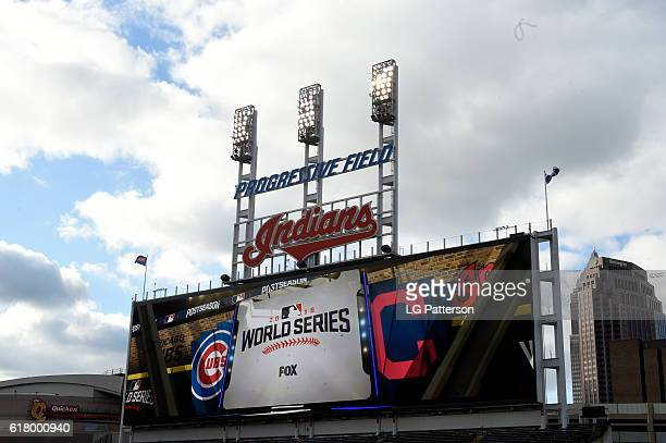 A general view of the jumbotron prior to Game 1 of the 2016 World Series between the Chicago Cubs and the Cleveland Indians at Progressive Field on...