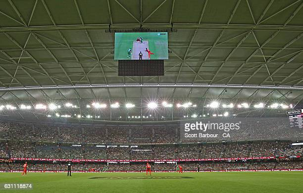 A general view of the JumboTron screens during the Big Bash League match between the Melbourne Renegades and the Melbourne Stars at Etihad Stadium on...