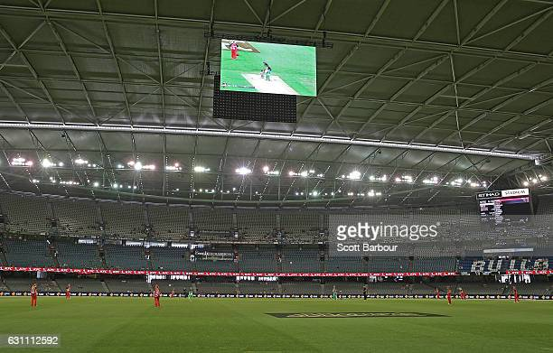 A general view of the JumboTron screens during the Women's Big Bash League match between the Melbourne Renegades and the Melbourne Stars at Etihad...