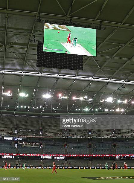 General view of the JumboTron screens during the Women's Big Bash League match between the Melbourne Renegades and the Melbourne Stars at Etihad...