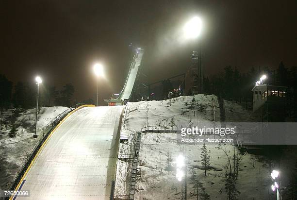 General view of the Jumping hill during the Skijumping event at the FIS World Cup Nordic Opening 2006 on November 25 2006 in Kuusamo Finland