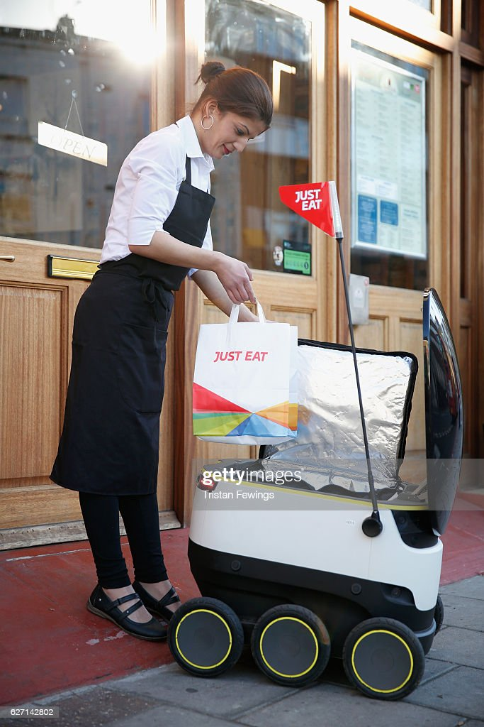A General View Of The Just Eat Robot Making A Delivery On