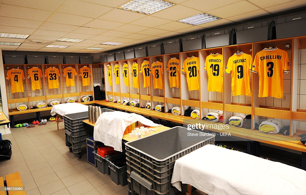A general view of the Juventus changing room prior to the UEFA Europa League Quarter Final 1st leg match between Olympique Lyonnais and Juventus at Stade de Gerland on April 3, 2014 in Lyon, France.