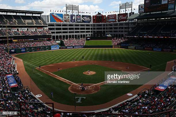 A general view of the Kansas City Royals and the Texas Rangers on April 19 2009 at Rangers Ballpark in Arlington Texas