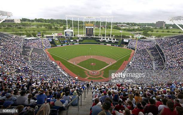 General view of the Kansas City Royals as they take the field during a MLB game against the Toronto Blue Jays on May 12, 2004 at Kauffman Stadium in...