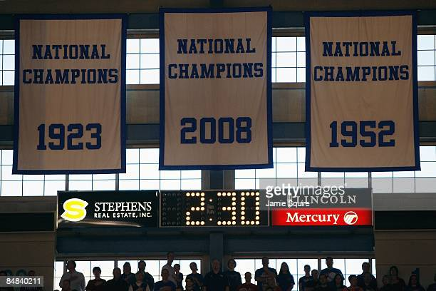 A general view of the Kansas Jayhawks banners taken during the game against the Oklahoma State Cowboys at Allen Fieldhouse on February 7 2009 in...