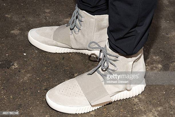 A general view of the Kanye West Adidas YEEZY 3 sneakers outside the Jeremy Scott fashion show during MADE Fashion Week at MILK Studios on February...