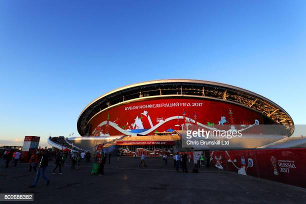 A general view of the Kazan Arena ahead of the FIFA Confederations Cup Russia 2017 SemiFinal match between Portugal and Chile at Kazan Arena on June...