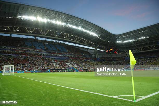General View of the Kazan Arena at the end of the 2018 FIFA World Cup Russia Quarter Final match between Brazil and Belgium at Kazan Arena on July 6...