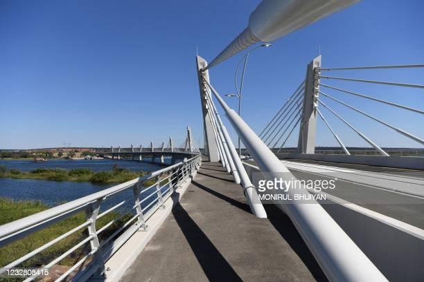 General view of the Kazungula bridge on the Zambezi river in Kazungula, Botswana, on May 10, 2021. - A new road and rail bridge linking Botswana and...