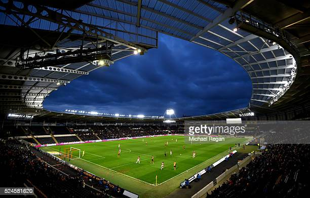A general view of the KC Stadium during the Sky Bet Championship match between Hull City and Brentford on April 26 2016 in Hull England