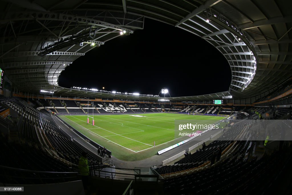 A general view of the KCOM Stadium prior to the crowd build up on the opening night of the BetFred Super League match between Hull FC and Huddersfield Giants at KCOM Stadium on Thursday, February 1, 2018 in Hull, England.