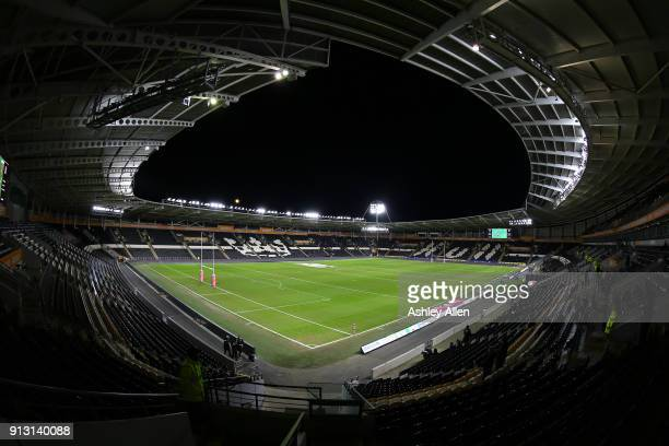 General view of the KCOM Stadium prior to the crowd build up on the opening night of the BetFred Super League match between Hull FC and Huddersfield...