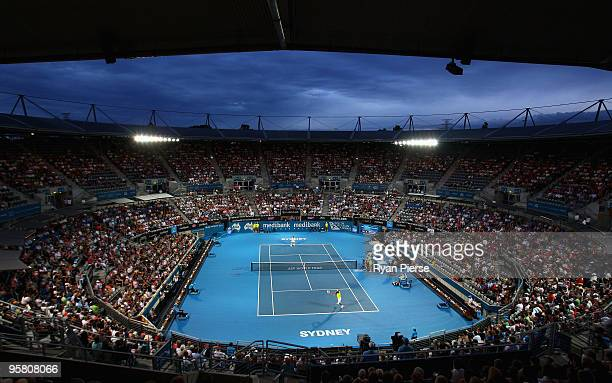 A general view of the Ken Rosewall Arena during the men's final between Marcos Baghdatis of Cyrprus and Richard Gasquet of France during day seven of...