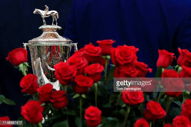 General view of the Kentucky Derby trophy at Churchill Downs on May 04, 2019 in Louisville, Kentucky.