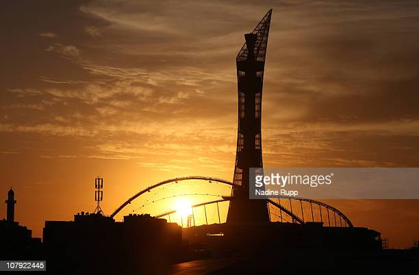 General view of the Khalifa Stadium and the Khailfa Tower at Aspire Academy for Sports Excellence is taken during sunset on December 30, 2010 in...