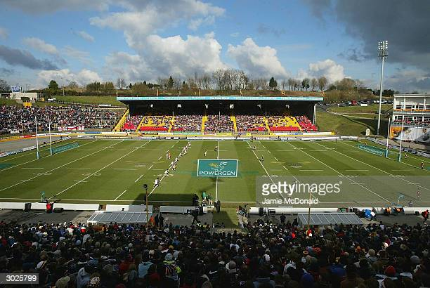 A general view of the kick off during the Powergen Challenge Cup match between Bradford Bulls and St Helens at Odsal Stadium on February 29 2004 in...