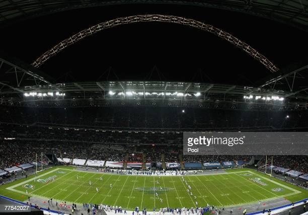 A general view of the kickoff during the NFL Bridgestone International Series match between New York Giants and Miami Dolphins at Wembley Stadium on...