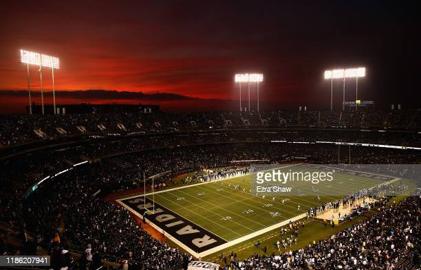 General view of the kickoff for the game between the Los Angeles Chargers and the Oakland Raiders at RingCentral Coliseum on November 07, 2019 in...