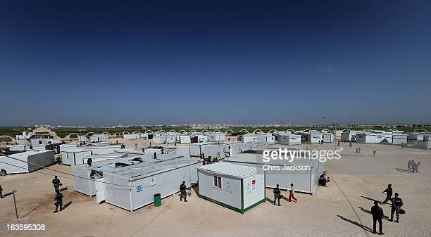 A general view of the King Abdullah Refugee Camp for Syrian refugees 2 kilometers from the Syrian border on the third day of Prince Charles and...