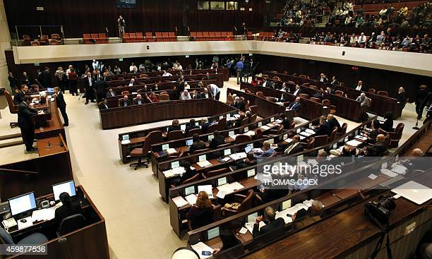 General view of the Knesset is seen during the vote to dissolve the Knesset on December 3 2014 in Jerusalem Israel is to hold a snap election on...