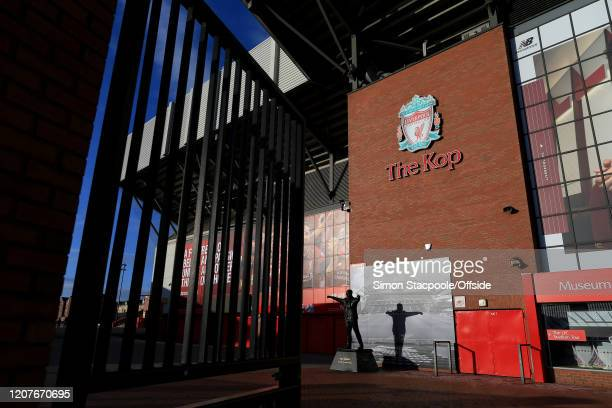 A general view of The Kop at Liverpool Football Club's Anfield stadium as concerns escalate over the spreading of COVID19 Coronavirus on March 15...