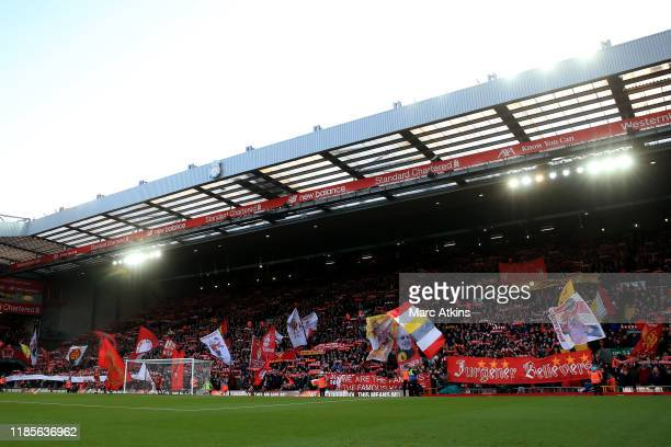 A general view of The Kop during the Premier League match between Liverpool FC and Brighton Hove Albion at Anfield on November 30 2019 in Liverpool...
