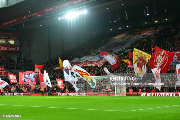 General View of the Kop during the Premier League match between Liverpool FC and West Ham United at Anfield on February 24 2020 in Liverpool United...