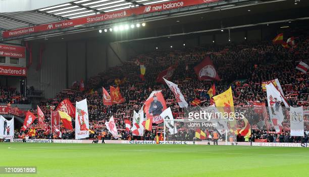 General view of the Kop during the Premier League match between Liverpool FC and AFC Bournemouth at Anfield on March 07 2020 in Liverpool United...