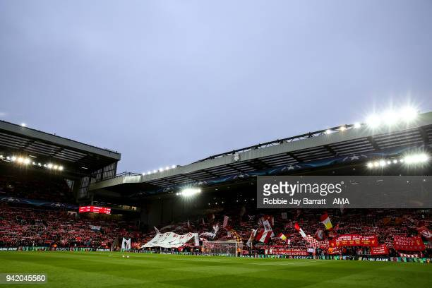 General view of The Kop stand at Anfield the home stadium of Liverpool during the UEFA Champions League Quarter Final first leg match between...