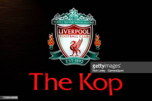 A general view of The Kopp ahead of the UEFA Champions League round of 16 second leg match between Liverpool FC and Atletico Madrid at Anfield on...