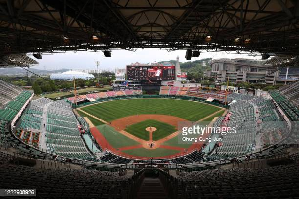 General view of the Korean Baseball Organization League opening game between SK Wyverns and Hanwha Eagles at the empty SK Happy Dream Ballpark on May...
