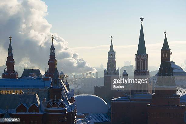A general view of the Kremlin and Historical Museum on January 23 2013 in Moscow Russia