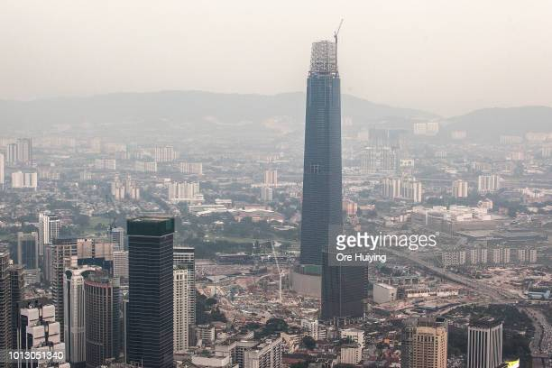 General view of the Kuala Lumpur city from the KL Tower observation deck with the Tun Razak Exchange Tower in view on July 28 2018 in Kuala Lumpur...