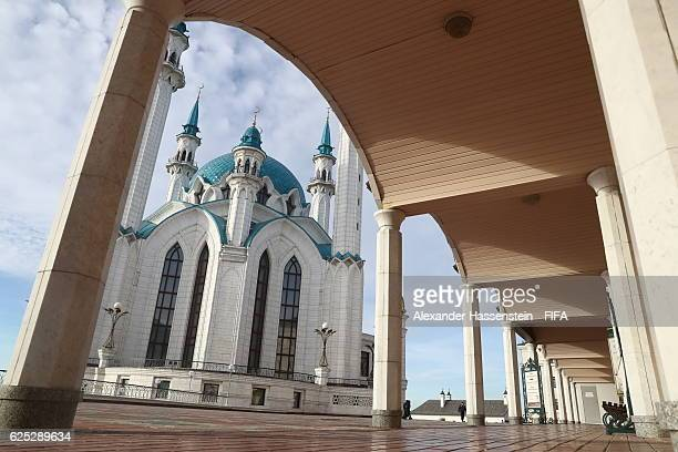 General view of the Kul Sharif mosque Russia's second largest mosque at Kazan Kremlin on November 23 2016 in Kazan Russia The official draw of FIFA...