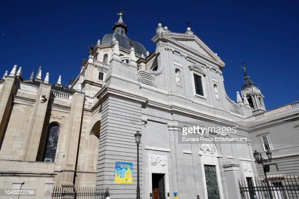 General view of the La Almudena cathedral on October 3 2018 in Madrid Spain
