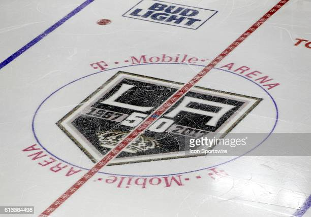 A general view of the LA Kings logo during a preseason game between the Dallas Stars and the LA Kings at TMobile Arena in Las Vegas Nevada The Dallas...